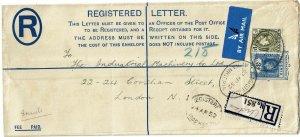 Nigeria 1952 Avoka cancel on registry envelope to England