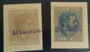O) 1888, SPECIMEN BRIEFST,  KING ALFONSO XII - SC 130 10c,SC 131 20c, UNUSED EXA