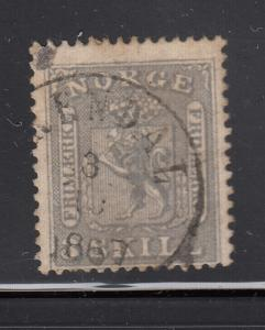 Norway 1863 used Scott #7 3s Coat of Arms Value only at left Cancel: Arendal?