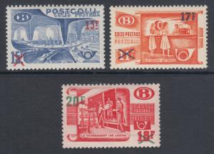 Belgium Sc Q338--Q340 MLH. 1953 Surcharged Railroad Workers, complete set, VLH