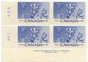 Canada USC #359 Hockey Plate 1 Matched Set - Mint VF-NH - Cat. $10.00