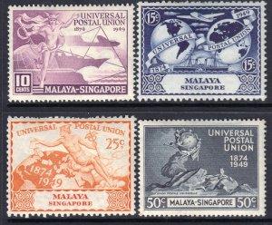 Malaya - Singapore 1949 UPU (Universal Postal Union) Anniversary Mint MH Set