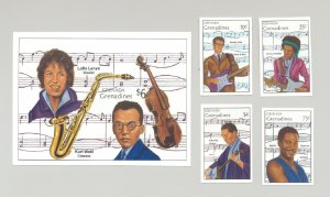 Grenada (Grenadines) #1115-1119 Music, Singers 4v & 1v S/S Imperf Proofs