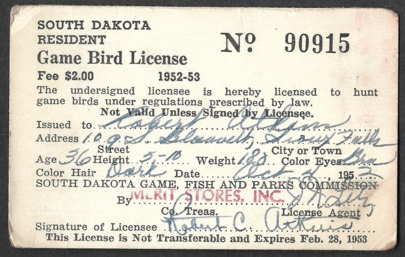 Doyle's_Stamps: Signed, Used #RW19 Federal Duck Stamp of 1952 on License