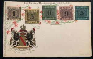 Mint Baden Germany Postcard Early Stamp on Stamp