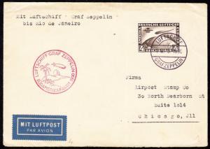 LZ127 ZEPPELIN FLIGHT COVER W/ #C39 GERMANY TO BRAZIL TO USA 5/19/1930 BT6157