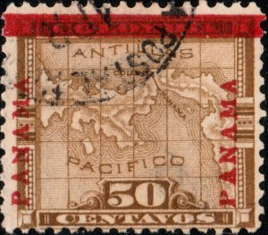 PANAMA - 1904 - Mi.56.III - 50c brown Map O/P going up left & right - VF Used