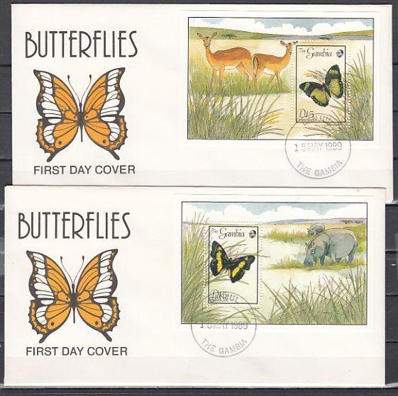 Gambia, Scott cat. 844-845. Butterfly s/sheets. 2 First day covers.