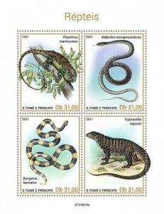 St Thomas - 2021 Reptiles, Bush Anole, Gold Tegu - 4 Stamp Sheet - ST210213a
