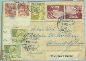 85373 - SWITZERLAND - POSTAL HISTORY -  TETE-BECHE pairs on POSTCARD 1953