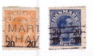 Denmark Sc 176-7 1926 20 ore surcharge stamps used