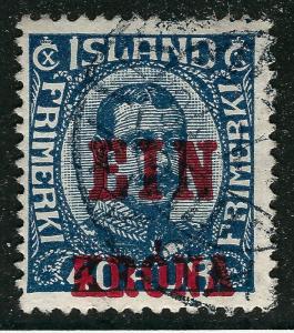 Iceland Scott #150 EIN KRONA F-VF Used SCV $45 Don't Overpay!