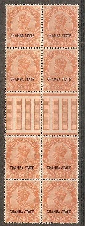 India CHAMBA State 2½As Postage KG V SG 69 / Sc 66 Gutter Pair BLK/4 Cat £64 MNH