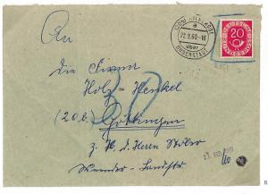 P345 1960 Germany BUNDESPOST 20pf POSTHORN *Stamp Disallowed* Cover Grottingen
