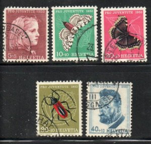 Switzerland Sc B227-31 1953 Insects People Pro Juventute stamp set used