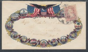 US Sc 64b used 3c rose pink Washington on 1861 Patriotic Cover, Cert.