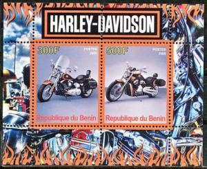 Benin 2008 M/S Harley Davidson Motorbike Transport Mortor Bike Stamps MNH perf