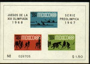 MEXICO 983a, Souvenir Sheet 3rd Pre-Olympic Set 1967. MNH