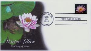 2015, Water Lilies, Pink, frog, Cleveland OH, FDC, BW Cancel, 15-040