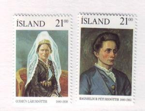 Iceland Sc696-7 1990 famous women stamps mint NH
