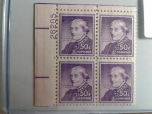 SCOTT # 1051A ANTHONY PLATE BLOCK WET PRINT GEM MINT NEVER HINGED STUNNING !!