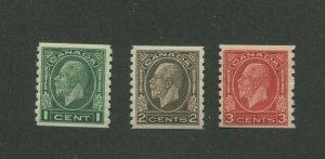 1933 Canada Postage Stamp #205-207 Mint Hinged F/VF Original Gum Coil Set