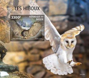NIGER - 2019 - Owls - Perf Souv Sheet - MNH