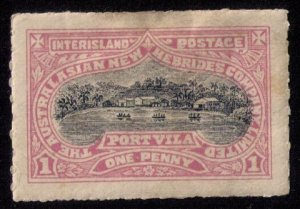 New Hebrides Mi NH I (1897) Australisian Company Unused Hinged No Gum-Rouletted