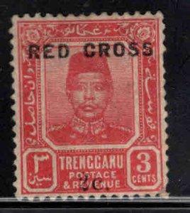 Malaya Trengganu Scott B1 MH* Red Cross surcharged stamp