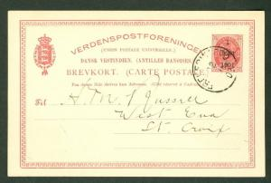 DWI #BK6 1CENT 1901 surcharge 3¢ card used Frederiksted