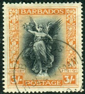 BARBADOS-1920-1 Victory 3/- Black & Dull Orange.  A fine used example