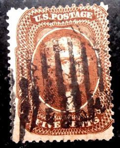 US #30, 1857 Orange/Brown, F/VF w/ Fancy Cancel, CV$1,400
