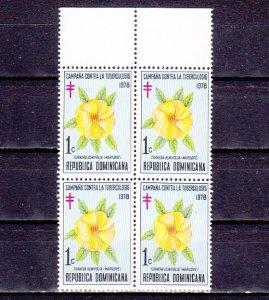 Dominican Rep., Scott cat. RA84. T-B issue, Flower shown. Block of 4. ^