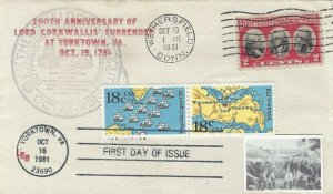 703 2c YORKTOWN & 1937/1938 DUAL FDC - LEB cachet