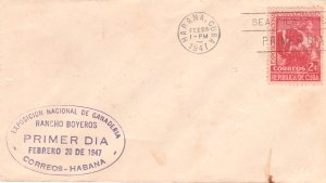 1947 Cuba Stamps Sc 405 Cow and Milkmaid FDC