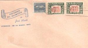 1953 Cuba Stamps Sc 501 Jose Marti Centenary Pair  FDC