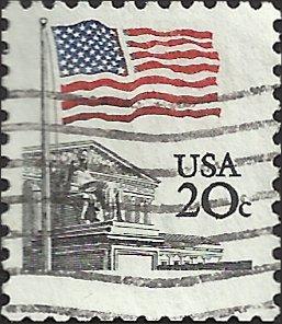 # 1894e USED BULLSEYE PERF. 11.2 SHINY GUM FLAG OVER CAPITOL
