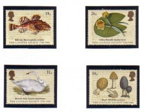 Great Britain Sc 1201-4 1988 Linnean Society stamp set mint NH
