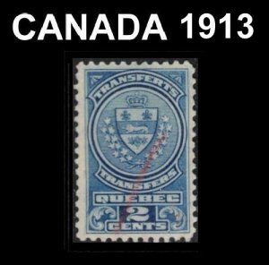 CANADA. QUEBEC 1913 REVENUE TAX STOCK TRANSFER 2c #QST10 VERY FINE USED