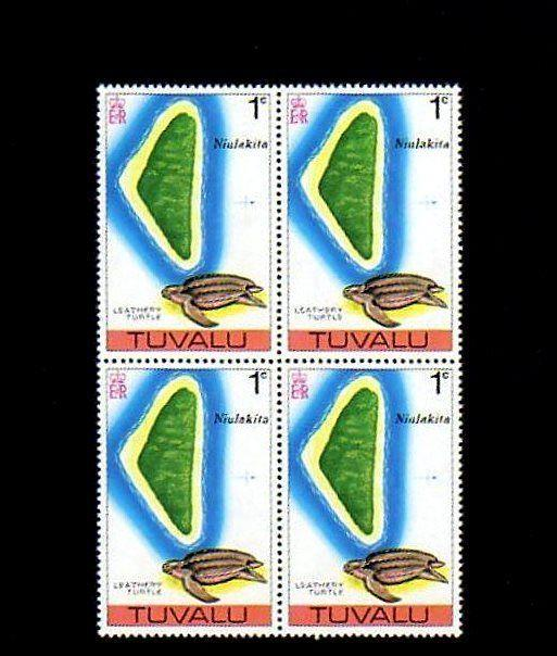 TUVALU - 1976 - TURTLE - LEATHERBACK - MAP - NIULAKITA - MINT - MNH BLOCK!