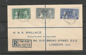 Turks & Caicos,  1937 Coronation, Wallace Registered cover, Not First day,