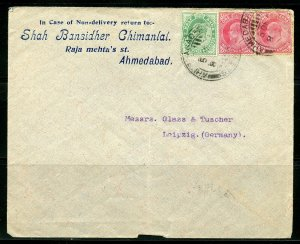 BRITISH INDIA AHMEDABAD 12/5/1908 COVER TO LEIPZIG, GERMANY AS SHOWN