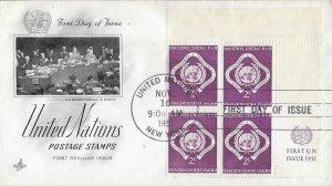 United Nations, New York #3, 2c Regular Issue, Art Craft, inscription block of 4