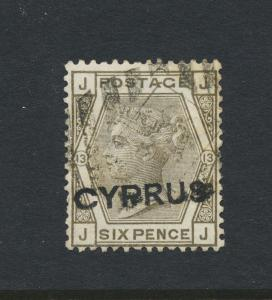 CYPRUS 1880, 6d PLATE 13, VF USED FORGERY SG#5 CAT£650 $880 (SEE BELOW)