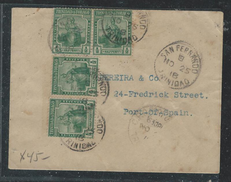 TRINIDAD AND TOGAGO (P0407B) 1918 LADIES ENVELOPE 1/2DX4 SAN FERNANDO TO PORT OF