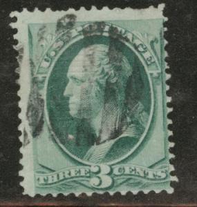USA Scott 136 Used H grilled stamp cork cancel CV $32.50