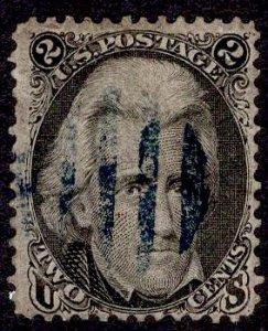 US Stamp #73 2c Jackson w/ + $15 Blue Cancel USED SCV $55. Nice Cancel.