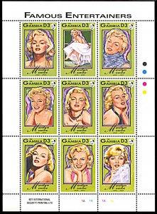 Gambia 1398, MNH, Marilyn Monroe miniature sheet of 9