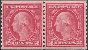 444 Mint,OG,LH... Pair... SCV $120.00... Horizontal watermark