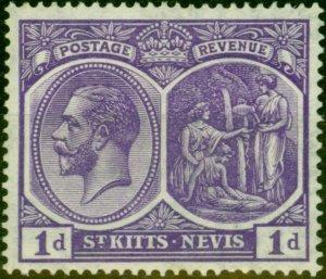 St Kitts & Nevis 1922 1d Deep Violet SG39 Fine Lightly Mtd Mint